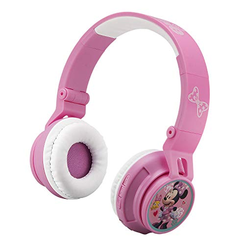 eKids Minnie Mouse Bluetooth Headphones for Kids Wireless Rechargeable Foldable Bluetooth Headphones with Microphone Kid Friendly Sound and Bonus Detachable Cord