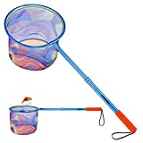 ODDSPRO Kids Fishing Net with Carbon Fiber Telescopic Pole Handle - Lightweight Ring and Polyester Fibers Landing Net for Catch and Release or Butterfly Net