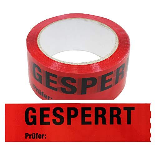 12 Rollen Klebeband Gesperrt, Prüfer: Rolle 50 mm x 66 lfm Absperrband Paketband Packband Warnband Hinweisklebeband
