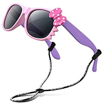 RIVBOS kids Sunglasses Girls with Strap Polarized UV Protection Flexible Shades for Baby and Children Age 2-10 RBK002-1 Pink