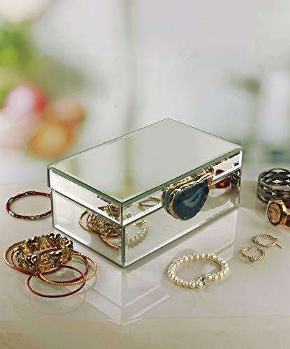 "Circleware Jewelry Box Organizer Beautiful Elegant Luxury Mirror Design Women & Girls Display Storage Case for Earrings, Ring, Necklace, Bracelet, 8.3"" x 5.1"" x 3.3"", Blue Agate"