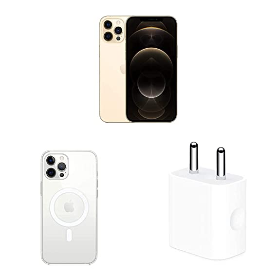 New Apple iPhone 12 Pro Max (512GB) - Gold with Apple Clear Case with Magsafe (for iPhone 12 Pro Max) and Apple 20W USB-C Power Adapter