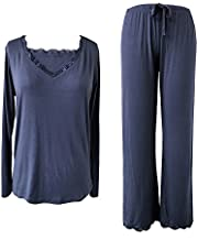 Sleepy Time Women's Bamboo Pajamas, Hot Flash Menopause Relief PJS, V Neck (Small, Blue)