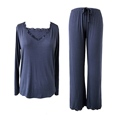 Sleepy Time Women's Bamboo Pajamas, Hot Flash Menopause Relief PJS, V Neck (X Large, Blue)