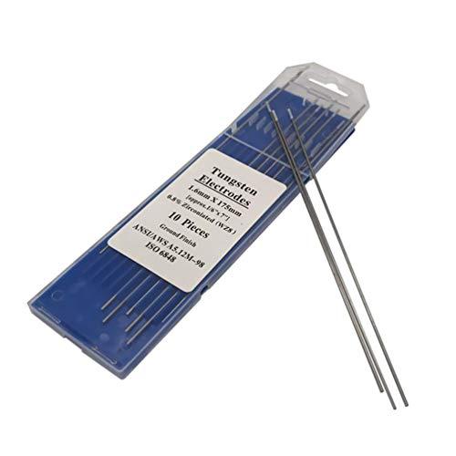 10 electrodos de tungsteno para soldar Villase, electrodos de tungsteno de 0,8% circonita, WZ8 para acero inoxidable y aluminio al carbono (1,0 mm x 150 mm), GXHSR3556516C
