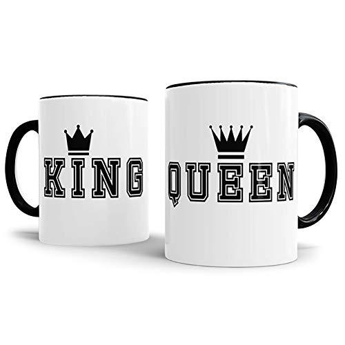 Tassendruck Partner-Tassen King und Queen Kaffeetasse/Mug/Cup / - Qualität Made in Germany Innen/Henkel Schwarz King und Queen mit Krone