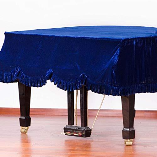 Grand Piano Cover, Classic Premium Samt Möbel Staubschutz Handgemachte Plissee Trim Standard-Klavier-Abdeckung Hauptdekoration, (Verschiedene Größen) ( Color : Blue , Size : 190cm+Double Stool )