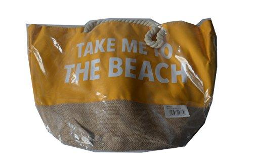 Douglas Sun Strandtasche Farbe: Gelb/Weiss/Nude Aufdruck: Take me to the beach - Ideal für den Strand