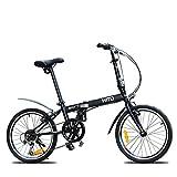 YHNMK Bikes Plegable,Folding Bike Bicicleta de Montaña 6 Velocidad 20 Pulgadas Bicicletas,Manillar y Asiento Ajustables,para Ciudad