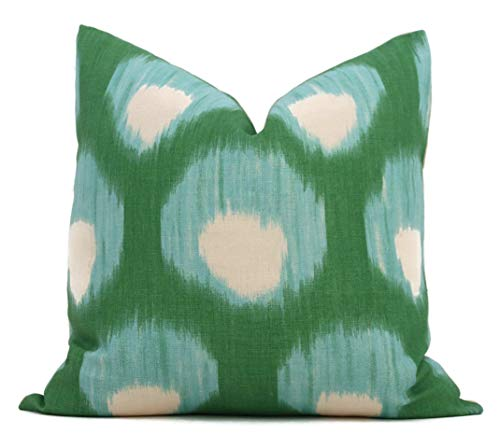 N/ A Peter Dunham Pfauengrün und Aqua Bukhara dekorativer Kissenbezug 18x18 Eurosham oder Lendenkissen Ikat Kissen