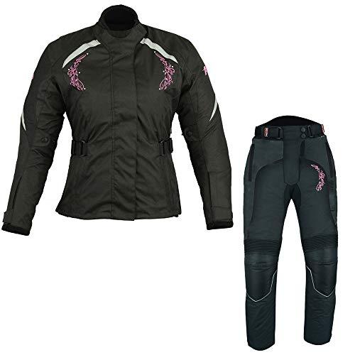 Een set van waterdichte motorfiets 2-delige dames pak motorfiets bromfiets bromfietsen in Cordura stof en CE goedgekeurde Armours - jas + broek + Balaclava S zwart met roze bloem