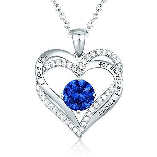 CDE Collares de Corazón para Mujer de Plata 925 Collares Colgante de Mujer Colgante de Diamantes Niña, con Caja Regalo, Regalo para Día de la Madre Esposa y Novia Tesoro Azul