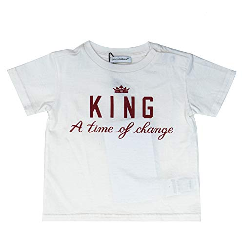 Dolce & Gabbana Kids, Kinder, King T-Shirt, Weiß, Jungen (3-6 Monate Babys)