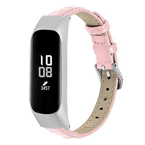 GhrKwiew Galaxy Fit-e Leder Armband, Slim Echtes Lederband Ersatz Frauen Männer Zubehör Gurt Uhrenarmband für Samsung Galaxy Fit E SM-R375 Fitness Activity Tracker (Rosa)