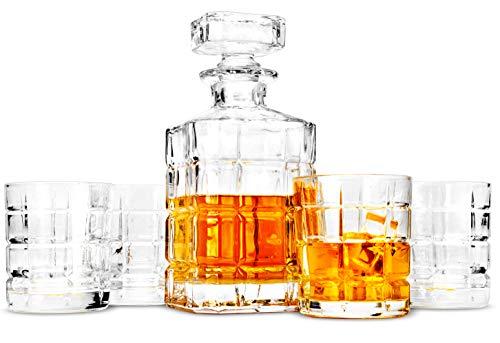 LANFULA 5-teiliges Whisky Gläsern und Karaffe Set, 800 ml Dekanter mit 4 Bleifrei Kristall Gläser 300 ml. Barware für Whiskey Liebhaber