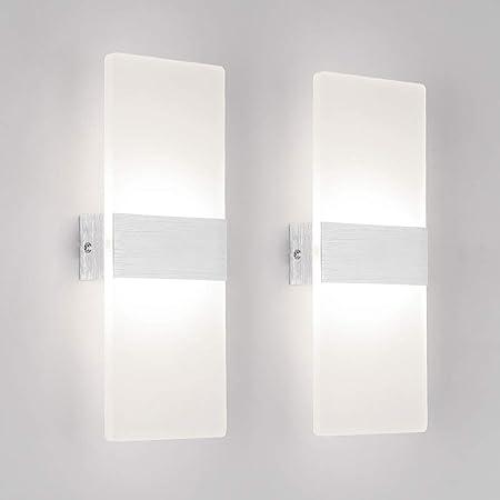 Klighten 2 Pack Applique Murale Interieur 12W LED Lampe Murale Designe Créatif Décoratif Pour Chambre Couloir Salon Hôtel Salle Blanc Naturel 4000K