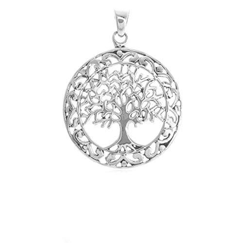 Colgante para mujer, amuleto de la suerte, talismán, árbol de la vida, árbol de la vida, plata 925, redondo