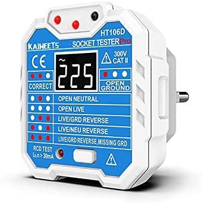 KAIWEETS® Steckdosentester, Diagnose-Stecker mit Kontrollleuchten-Anzeige, misst Sockel-Spannung, CAT II 300 V (2 Füße)