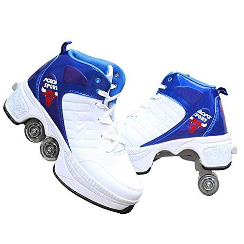 Pinkskattings@ Unisex-Kinder Skateboard Schuhe Kinderschuhe Mit Rollen Skate Shoes Rollen Schuhe Für Damen Mädchen Discoroller, Automatische Wanderschuhe Unsichtbar,Weiß,42