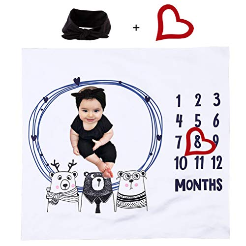Baby maandelijkse mijlpaal deken 100x100cm, baby fotodeken + hartvormige fotolijst + hoofdband, voor babyfoto's I Maandelijkse baby mijlpaal deken I Maandelijkse babydeken maandmijlpaal