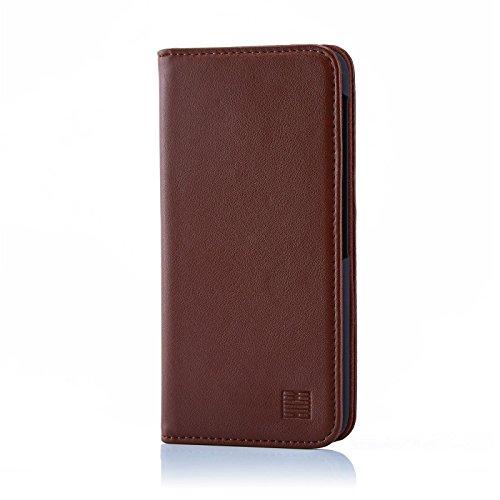 32nd Klassische Series - Lederhülle Case Cover für BlackBerry DTEK60, Echtleder Hülle Entwurf gemacht Mit Kartensteckplatz, Magnetisch & Standfuß - Dunkelbraun