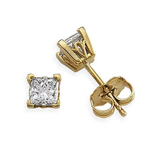 Aretes de diamantes de oro amarillo de 14 quilates (1/3 cttw)