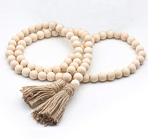 LSKY 58in Wood Bead Garland Rustic Tassels Farmhouse Beads for Farmhouse Wall Hanging Decor (1 Pack)