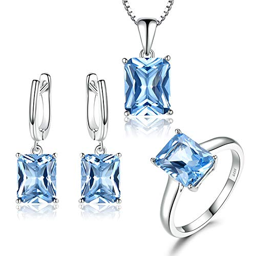 New Fashion Women/'s Solid 925 Sterling Silver bleu turquoise gemmes Boucles d/'oreille
