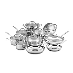 Brilliant stainless steel finish. Classic looks, professional performance Aluminum encapsulated base heats quickly and spreads heat evenly. Eliminates hot spots. Solid stainless steel riveted stick handles stay cool on the stovetop. Safe and comforta...