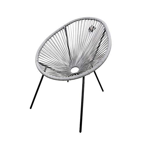 Zons - Lote de 2 sillas de jardín de Efecto ratán, Gris, 69 x 70 x 82 cm