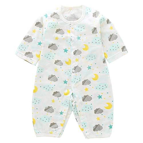 Mornyray Unisexe bébé Coton été Motifs de Dessins animés à Manches Longues Barboteuse Mince Size 80 (Moon Stars)