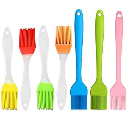 Silikonpinsel Backen 7 Stück Backpinsel/Grillpinsel,Küchenpinsel Lebensmittelecht und Hitzebeständig bis 230 Grad,Spülmaschinenfest.6 Farben