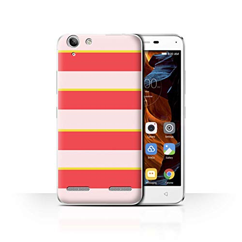 Stuff4 Phone Case for Lenovo Vibe K5 Plus Seaside Fashion Pink/Yellow Hoops Transparent Clear Ultra Slim Thin Hard Back Cover
