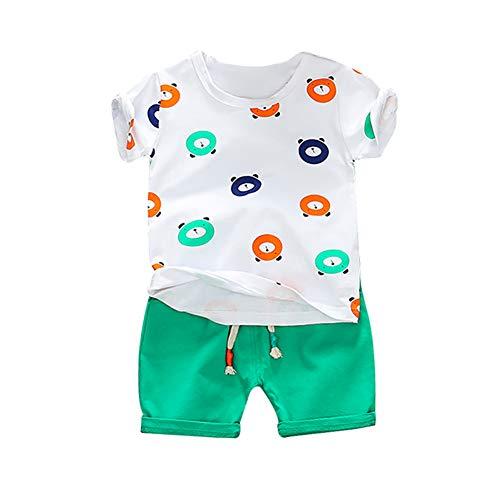 Conjunto de Ropa de Verano para niños bebés niños de Manga Corta de Dibujos Animados de Oso Imprimir Tops Blusa Camiseta + Pantalones Cortos Baby Boy Trajes de Ropa de Verano Conjunto