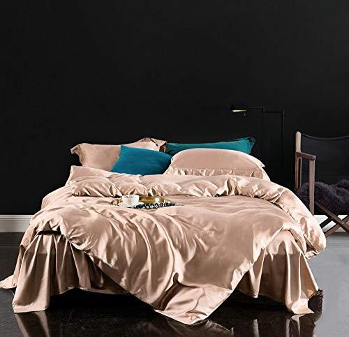 WAlAH Textiles del hogar,Simple 60 Plus Color Seda Día de Deslizamiento Seda Color sólido de Cuatro Piezas se Utiliza en la Cama de una Sola Cama de Verano-Albaricoque Monocromo_Rey