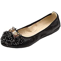 Black Foldable Ballet Flat Shoes Butterfly Rhinestone Slip