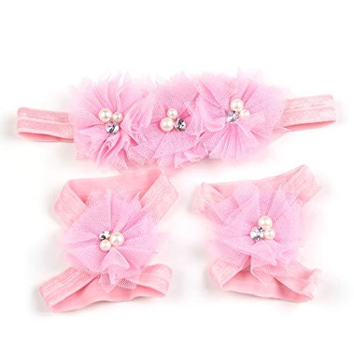 Baby Meisje Hoofdband Elastische Bloem Haarband met Barefoot Sandalen voor Peuter roze