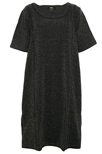 X-Two Yesta Kleid Shirtkleid Tunika Midikleid Lurex Lagenlook, Farbe:schwarz, Damengrößen:52