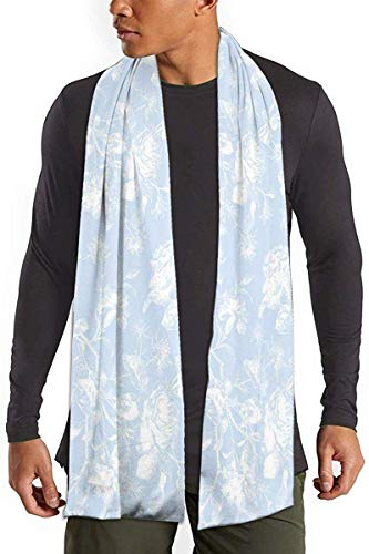 uytrgh Unisex Scarf Blue and White Wild Rose Long Shawl Winter/Fall Warm Shawls Wraps Light Scarf 11.8