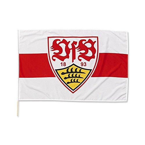 VfB Stuttgart Fahne / Flagge mit Wappen rot/weiss 120 x 80cm mit Holzstab (ca. 1 m lang)