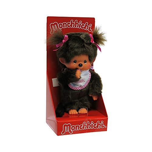 Sekiguchi 255550 - Original Monchhichi Mädchen, aus braunem Plüsch, mit pinkem Lätzchen und Zöpfen mit Schleifen, ca. 20 cm