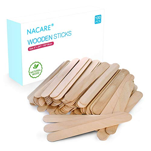 Nacare 100pcs Natural Wooden Wax Applicator Sticks Lolly Craft Sticks in Size 6quot x 3/4quot