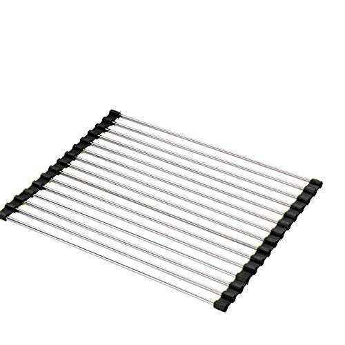 Gymqian Dish Drying Rack Large Multi-Function Kitchen Tools PVC Stainless Steel Vegetable and Fruit Drain Rack Kitchen Sink Rack for Kitchen Countertop or in Sink Tidy/Black