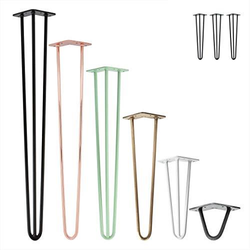 3x Natural Goods Berlin Hairpin Leg Tischbeine |12mm Stahl | viele Farben | alle Größen | 35cm/2 Streben (Schwarz)