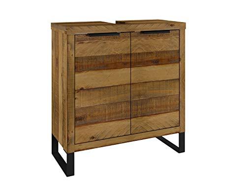 Woodkings® Waschbeckenunterschrank Sydney massiv Holz schmal Badmöbel Badezimmer klein Badezimmerschrank Badschrank Bad Unterschrank Massivholz mit Fuß auch hängend möglich (Rec. Pinie)