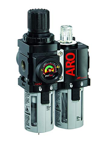 Ingersoll Rand ARO C38121-600-VS Air Filter-Regulator-Lubricator Combination, 1/4' NPT,Black/Gray