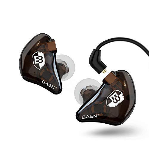BASN Bsinger in Ear Monitor Headphones for Musician, Dual Dynamic Drivers Noise Isolating Earbuds with MMCX Inline Remote Mic Cable and Silver Plated Audio Cable (SPM-Brown)