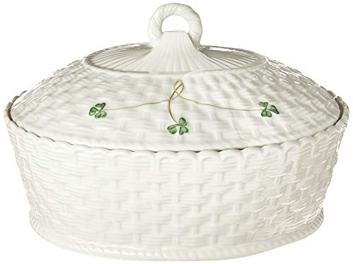 Belleek Pottery Shamrock Oval Covered Dish, 47-Ounce, White