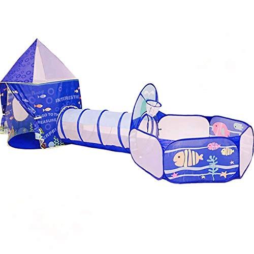 SHWYSHOP Tienda de campaña infantil Sea World, túnel y fosa de bola, adecuada para interiores y exteriores, luz y fácil de instalar