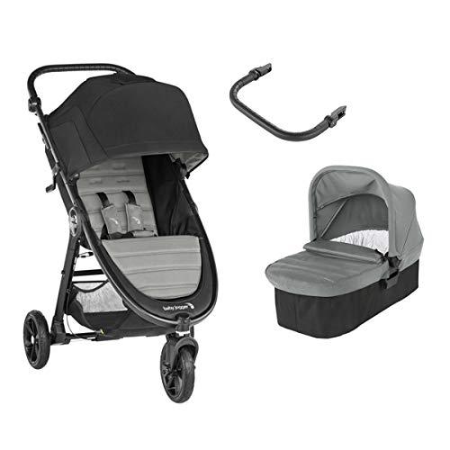Baby Jogger City Mini GT2 Duo Slate - Cochecito todo terreno de 3 ruedas + capazo + barra delantera